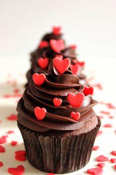 Cupcakes de chocolate para San Valentín                                                                                                                                                                                 Más