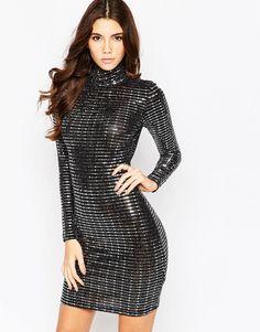 Oh My Love High Neck Metallic Long Sleeved Mini Dress
