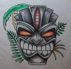 Coloured tiki mask drawing