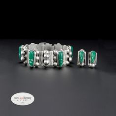 Lovely Sterling Silver Mexican 1940's Bracelet + Earrings Set - Carved Green Onyx Masks $219 #MexicanSilver #ArtDecoJewellery  http://cocoandbenny.com/product/bracelets/1940s-mexican-green-onyx-chunky-bracelet-earrings-set