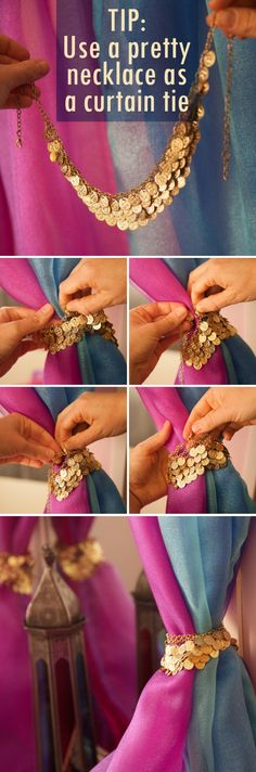Use a pretty necklace instead of a curtain tie for your Arabian princess – inspired dresser mirror curtain DIY project.