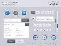Набор элементов пользовательского интерфейса для мобильных и веб-проектов в PSD-формате