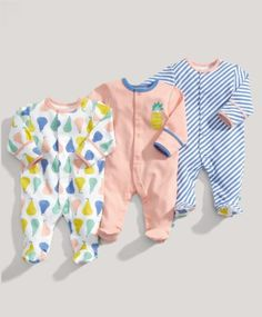 Mamas and Papas - Girls Essentials 3 Pack of Patterned All in Ones Baby Clothes
