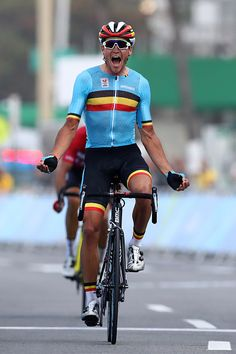 #RIO2016 Greg van Avermaet of Belgium celebrates winning the gold medal in the Men's Road Race on Day 1 of the Rio 2016 Olympic Games at the Fort Copacabana...