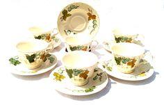 Vintage Metlox Vernon Ware Vineyard Pattern Set of 6 Cups and Saucers Grapevine Ivy