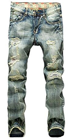 05dc5a8c46a7 Men s Distressed Ripped Slim Jeans Blue Note  belt not included. Cut the  button hole out with small knife or scissors when it s not opened.