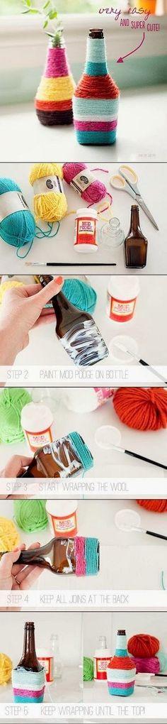 تغلييف الزجاجات بخيوط التريكو لتزيين المنزل بها