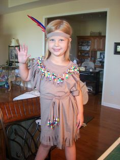 Faith's native American Princess outfit made from brown tees off the clearance rack @Jo-Ann Fabric and Craft Stores