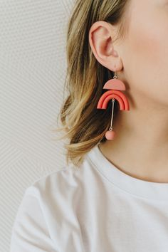 NEW - Spring inspired modern, minimal polymer clay earrings. Soft colors, unique design.