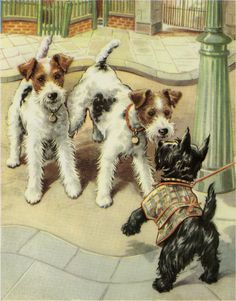 """Vintage Dog Print Terrier & Scottie Puppies by Winifred Martin C. 1953 Vintage Decor Matted 11x14"""""""