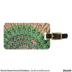Brown Green Peacock Feathers Luggage Tag
