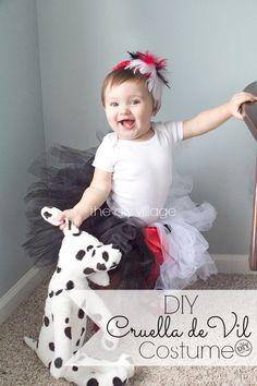 DIY Baby Cruella de Vil Halloween Costume idea for infant or toddler. Easy  and inexpensive 3a95abab3c52