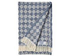 Diamonds - Blue Cotton Diamond Weave Blanket by Amana