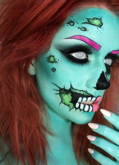 Beuatiful!! I love what people can do with make-up!! <3 Zombie Make Up, Pop Art Zombie, Zombie Girl, Zombie Face, Scary Makeup, Sfx Makeup, Costume Makeup, Horror Makeup, Pretty Zombie Makeup