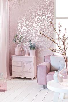 Romántico papel pintado en rosa con brillo y textura de terciopelo - Villalba Interiorismo