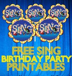 Sing Movie FREE Birthday Party Printable Files