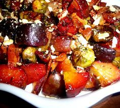 Roasted beets and brussels sprouts