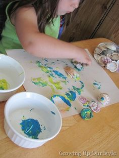 Painting with shells, would be great for an ocean unit or theme! C.B.