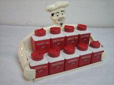 81225 Vintage Dapol Chef Spice Rack w 9 Spice Jars Diner Kitchen, Bistro Kitchen, Red Kitchen, Kitchen Stuff, Vintage Kitchenware, Vintage Tins, Vintage Stuff, Spice Set, Spice Jars