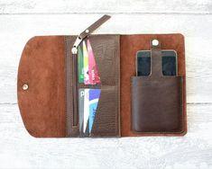 Wallet phone case CHOCOLATE veg/chrome от ValePLondonLeather