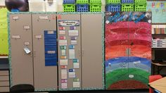"""So this is my Language Arts and AR reading wall. The clips to the left will hold weekly focuses and the rainbow chart to the right models the layers of the atmosphere that the students will """"fly"""" through as they gain AR points."""