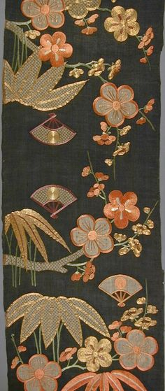 Fragment of a Kimono (Katabira) with Design of Plum Blossoms, Pines and Fans | LACMA Collections