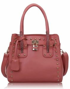 Womens Pink Studded Tote Padlock Handbag - KCMODE KCMODE  to enter online shopping or purchase click on Amazon right here  http://www.amazon.com/dp/B00EZ3ZKL2/ref=cm_sw_r_pi_dp_TT3Stb0T0VQ2RS61
