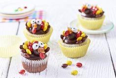 Cupcakes met vrolijke kalkoenen