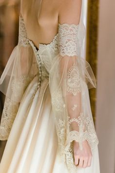 Claire Pettibone Marie strapless wedding dress with lace embroidered bodice, sil. , Claire Pettibone Marie strapless wedding dress with lace embroidered bodice, sil. Lace Wedding Dress, Wedding Dress Trends, Dream Wedding Dresses, Boho Wedding, Lace Dress, Mermaid Wedding, French Wedding Dress, Rustic Wedding, Trendy Wedding