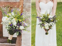 Wedding bouquet ideas - wild flowers - purple white yellow | Lower Stockbridge Farm Sherborne | Dorset weddings | Rebecca+Ben - Paul Underhill Photography