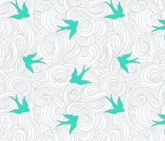 This fabric could be used for the seat cushion or accent pillows.  Take Flight in Overcast  and Turquoise fabric by sparrowsong on Spoonflower - custom fabric