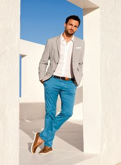 ♂ Masculine & elegance enjoy the summer sunshine. blue & white man's wear
