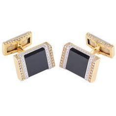 French Onyx Diamond Two Tone Gold Cufflinks