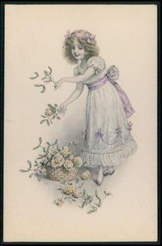 art RR pretty child girl Roses flowers original old 1910s postcard MM Vienne