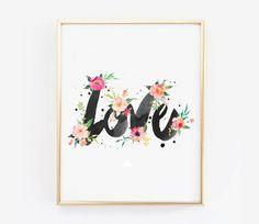 LOVE Watercolor Printable Wall Art - Nursery Wall Art - Watercolor Flowers Affiche Noel - Scandinvian Poster 16x20,11x14,8x10,A3  SALE !! Add any 3