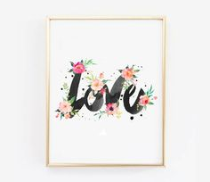 LOVE Watercolor Printable Wall Art Watercolor by VisualPixie