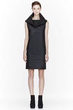 Gareth Pugh Black Waxed Cotton Cowlneck Dress for women | SSENSE