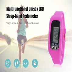 2017 New Arrival Waterproof Pedometer Portable Digital LCD Step Calorie Distance Electronic Counter Strap-hand Pedometer 4 Color