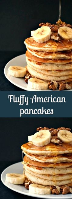 Fluffy American Pancakes with bananas, walnuts and a good squeeze of honey.