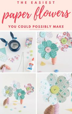 In search of a super quick & easy DIY flower to make? You can make an adorable paper flower that doesn\'t even need a template. Not only that, there are a lot of paper flower tutorials available on this site. Including round ups & paper flowers step by step tutorials. This is one of those easy crafts to make and sell, even one of those easy crafts for kids to make in less than 15 minutes!