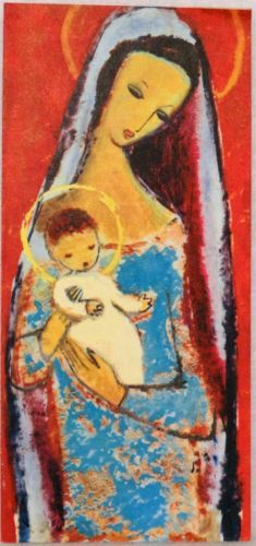 #1787 60s Unused Mary & Jesus- Vintage Christmas Card-Greeting