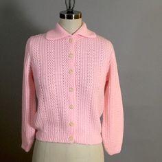 Blossom pink cardigan sweater - Laurel Ann brand - 1960s vintage - XS-S
