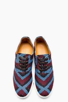 Marc Jacobs Blue & Burgundy Woven Sneaker
