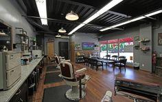 Barber Shop Design Ideas Barber Shop Design Ideas Also Barber Shop Designs Besides Shop Modern Barber Shop, Barber Shop Interior, Hair Salon Interior, Barber Shop Decor, Shop Interior Design, Interior Decorating, Barber Shop Chairs, Barber Chair For Sale, Barbershop Design