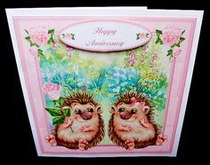 Hedgehog Love Mini Kit Valentine Anniversary on Craftsuprint designed by Toni Martin - made by Diane Hitchcox - I printed out onto 220 gram smooth card ,mounted on card using double sided tape ,added sentiment ,then attached insert. - Now available for download!