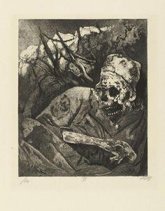 Otto Dix - Corpse in Barbed Wire (Flanders), from Der Krieg portfolio. 1924