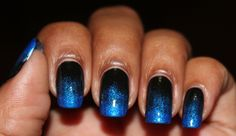 Bellezza Bee: Nail Challenge Day 10: Blue Black Gradient Nails