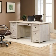 Sauder 418795 Edge Water Chalked Chestnut Executive Desk