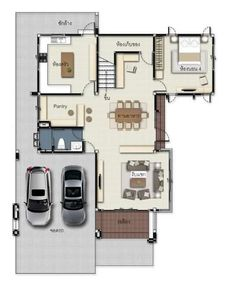 Gorgeous 2 Storey House Concept With 4 Bedrooms - House And Decors 2 Storey House Design, Small House Design, Concrete Staircase, 4 Bedroom House, Dark Colors, Light In The Dark, Future House, Townhouse, House Plans