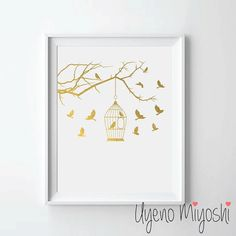 Bird Cage I and Tree Branch Gold Foil Print Gold Print